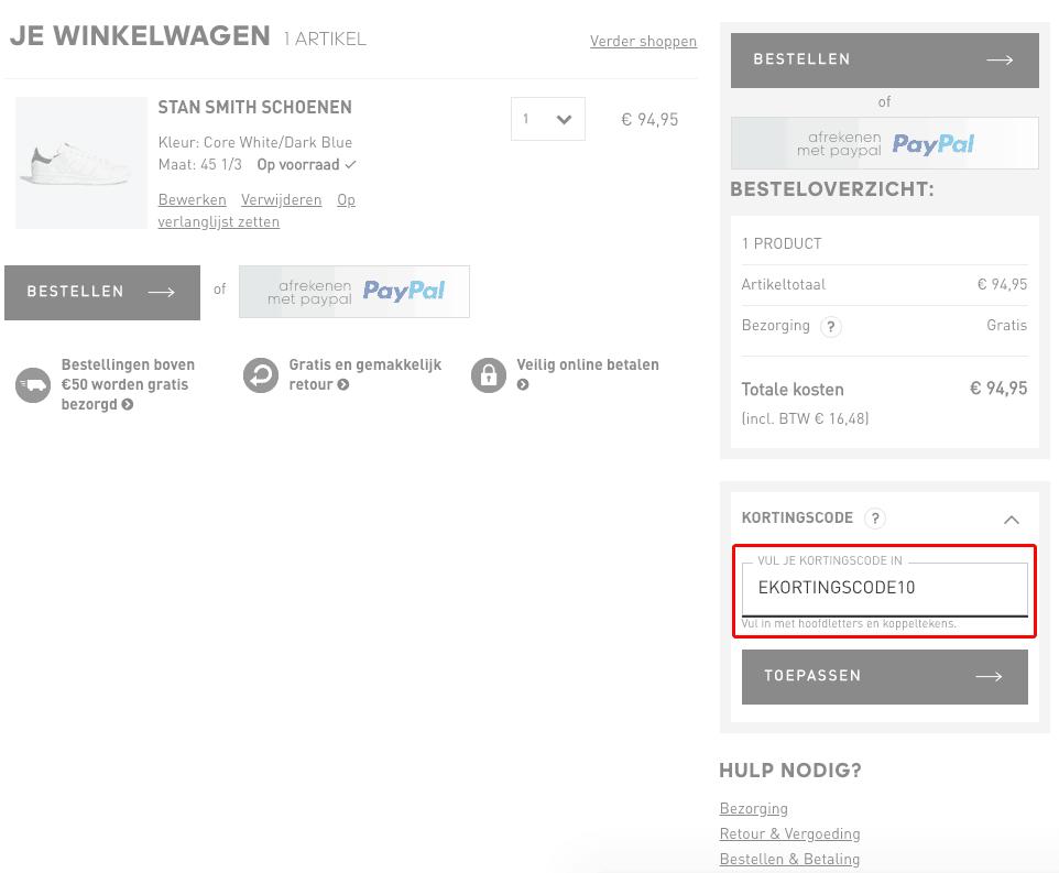 Adidas kortingscode gebruiken