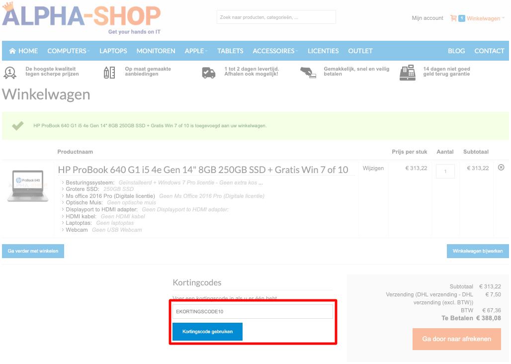 Alpha-Shop kortingscode gebruiken