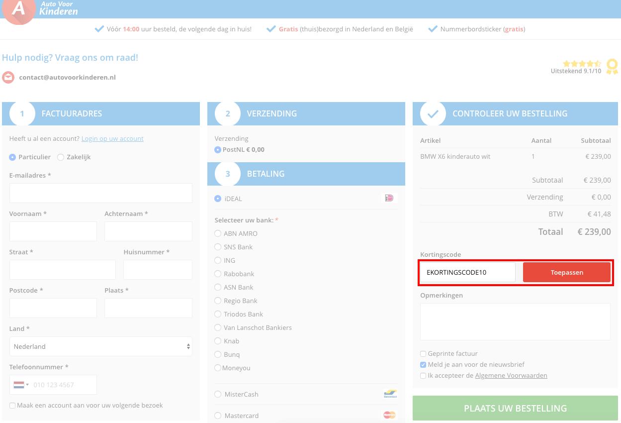 AutoVoorKinderen kortingscode gebruiken