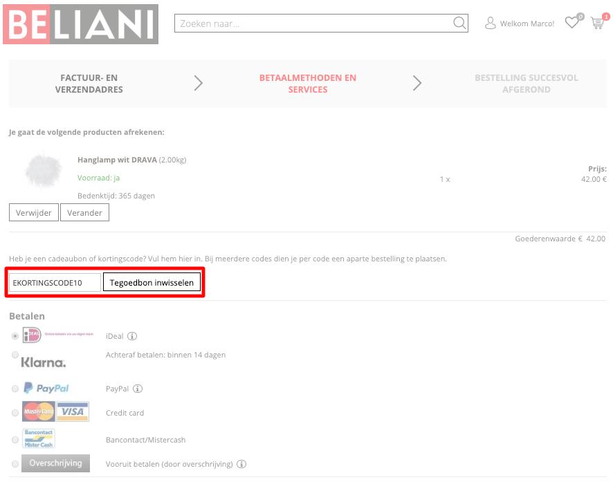 Beliani kortingscode gebruiken