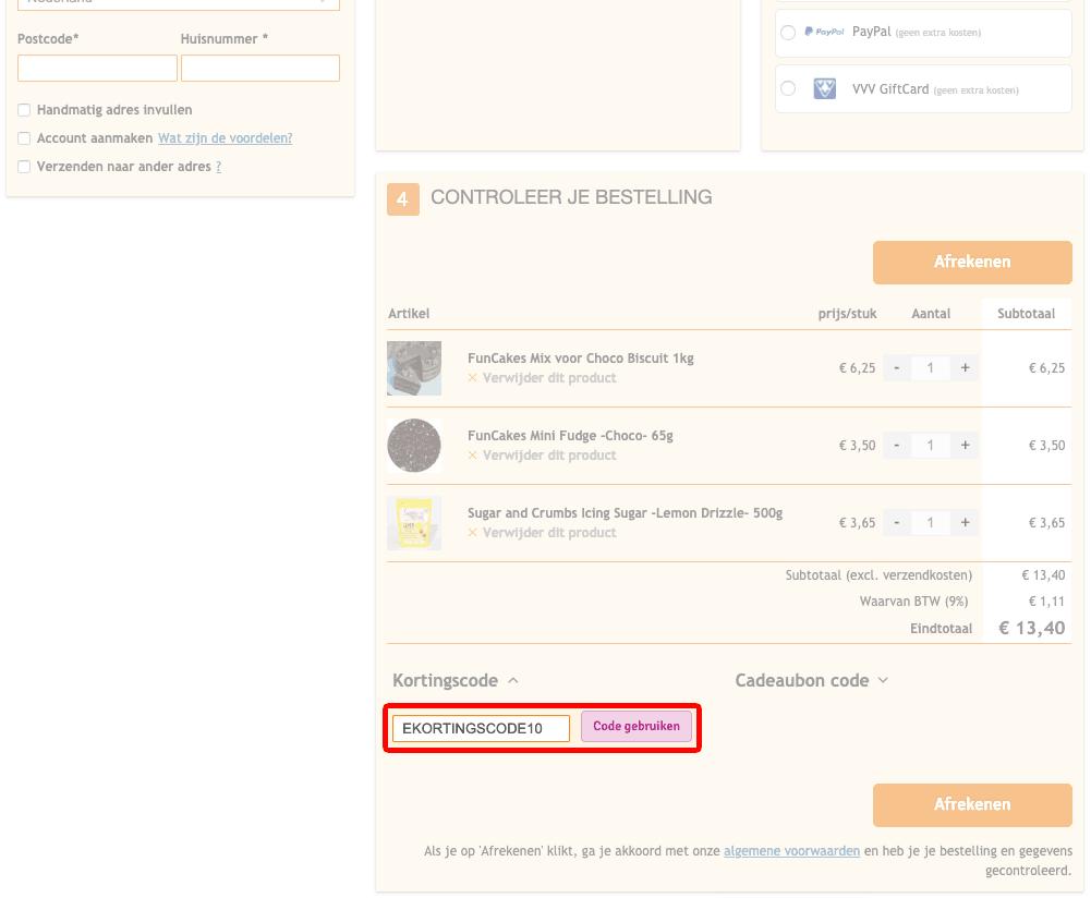 De Leukste Taartenshop kortingscode gebruiken