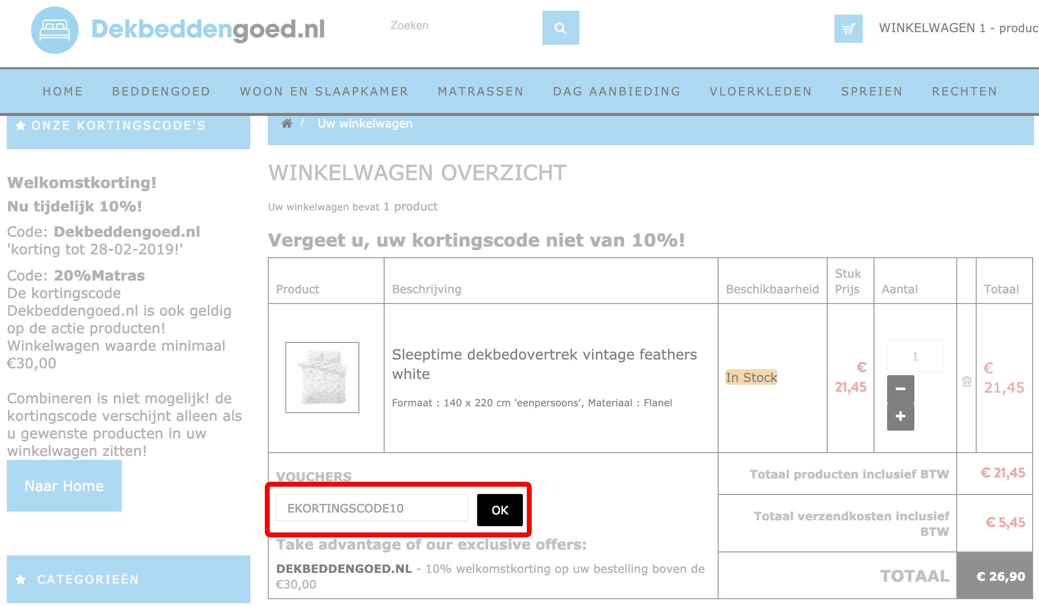 Dekbeddengoed.nl kortingscode gebruiken