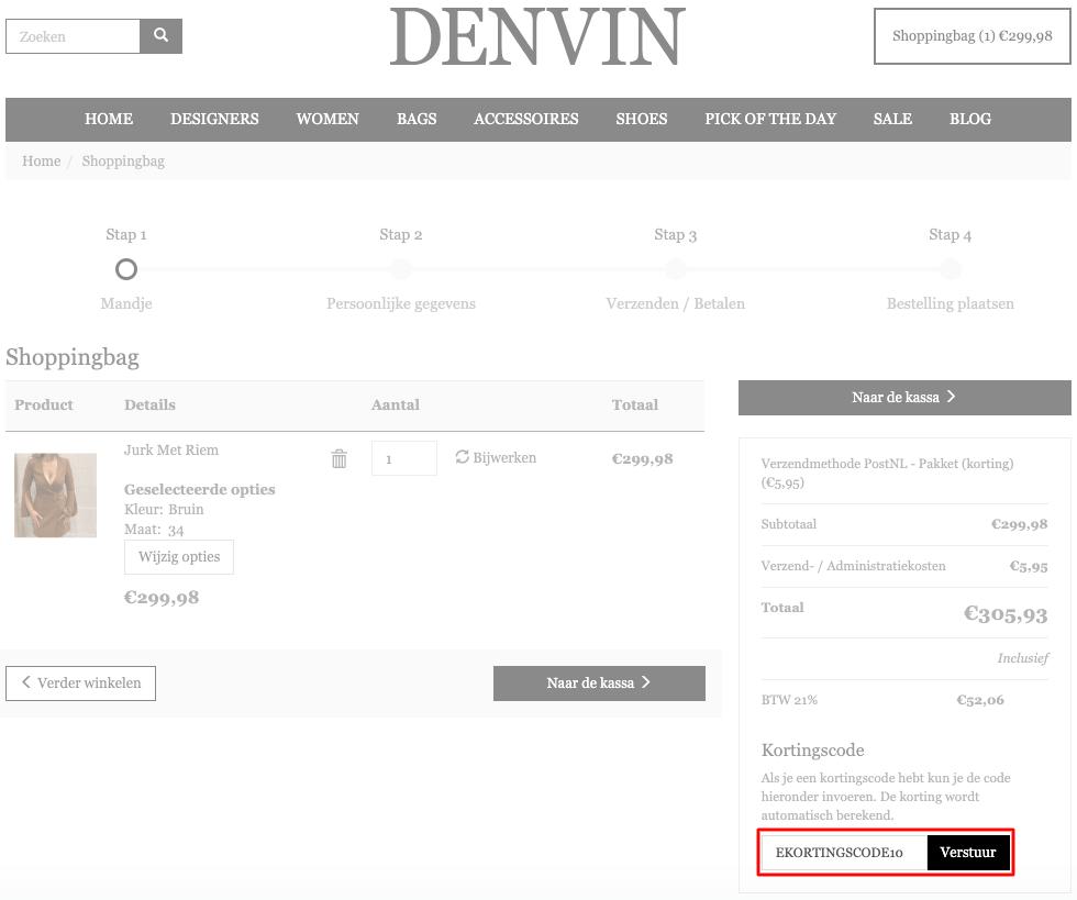 Denvin kortingscode gebruiken
