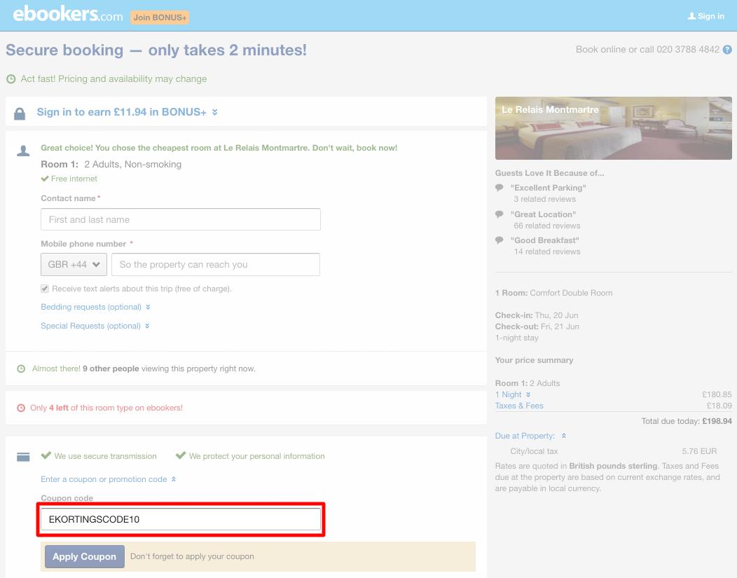 Ebookers kortingscode gebruiken