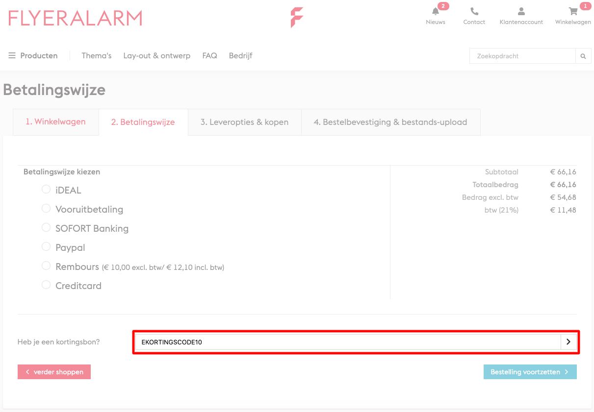 FLYERALARM kortingscode gebruiken