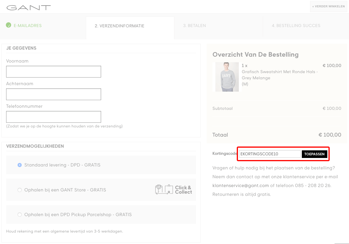 GANT kortingscode gebruiken