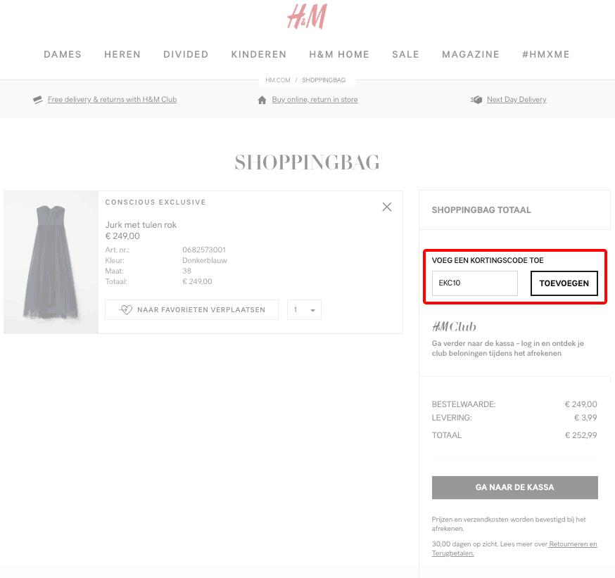 H&M kortingscode gebruiken