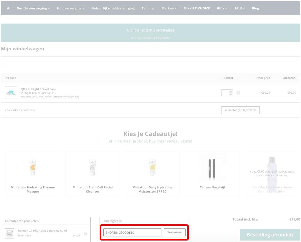 Het Cosmeticahuis kortingscode gebruiken