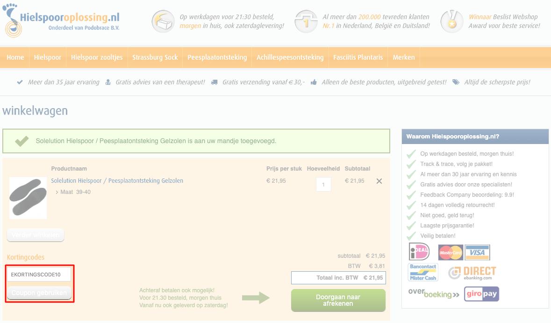 Hielspooroplossing.nl kortingscode gebruiken