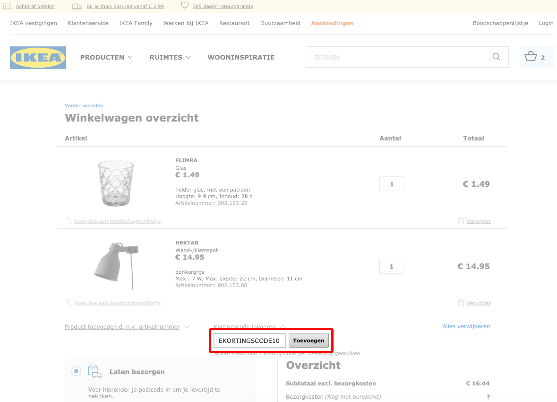 IKEA kortingscode gebruiken