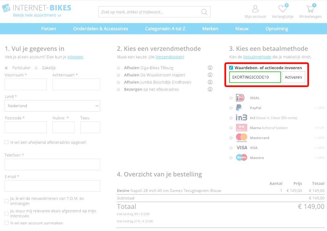Internet Bikes kortingscode gebruiken
