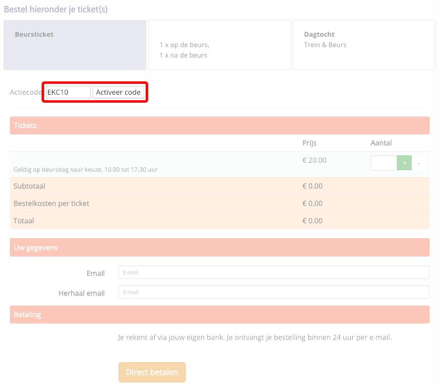 Jaarbeurs kortingscode gebruiken