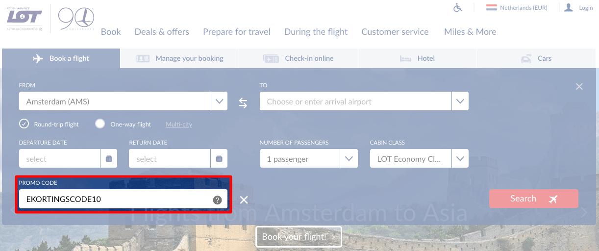 LOT Polish Airlines kortingscode gebruiken