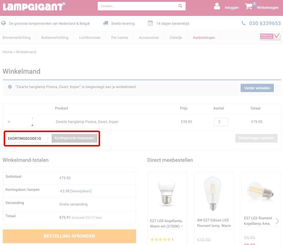 Lampgigant kortingscode gebruiken