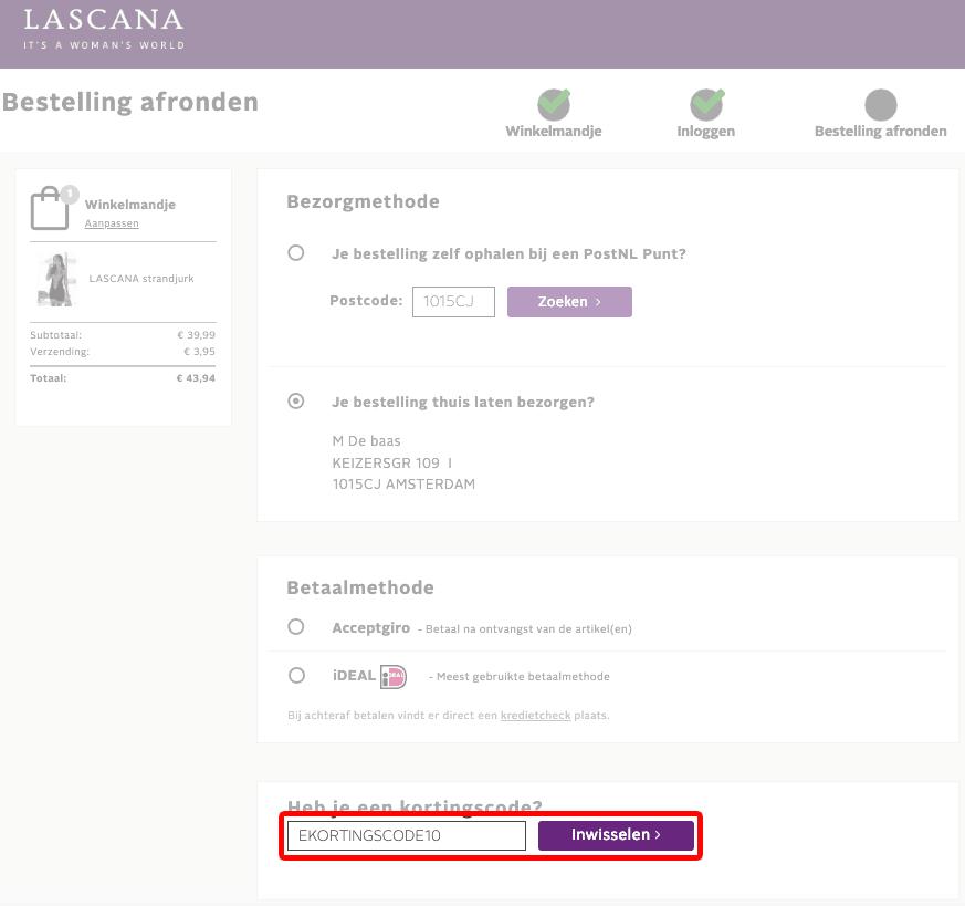 LASCANA kortingscode gebruiken