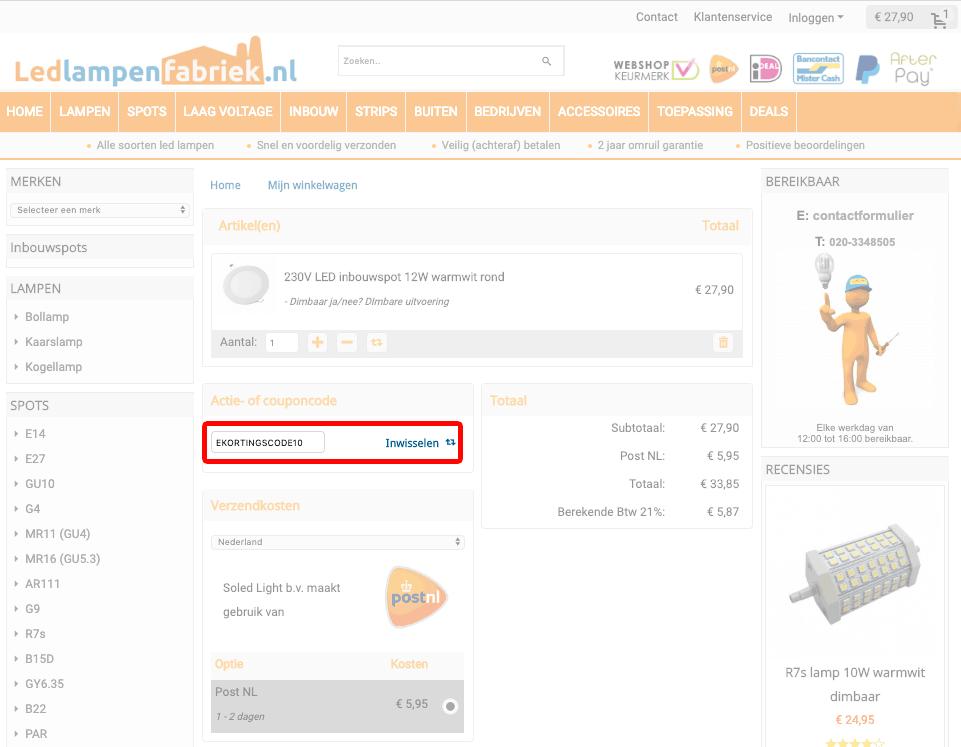 Ledlampenfabriek.nl kortingscode gebruiken