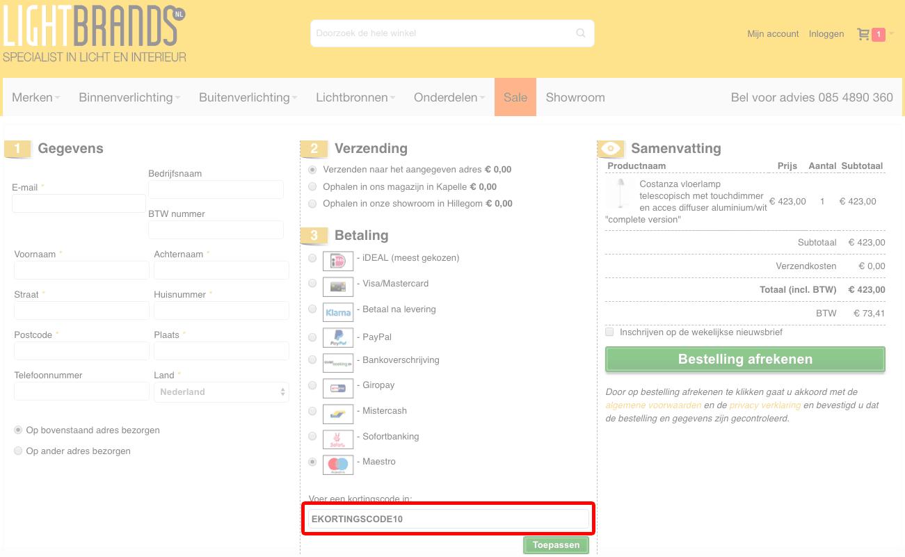 LightBrands kortingscode gebruiken
