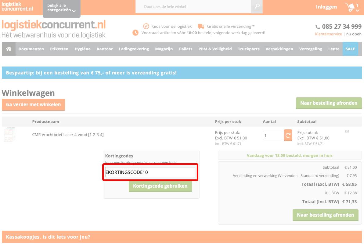 Logistiekconcurrent kortingscode gebruiken