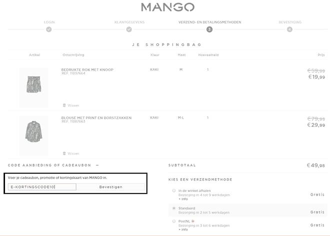 Mango kortingscode gebruiken