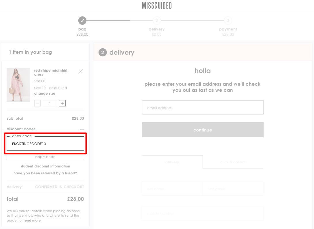 Missguided kortingscode gebruiken