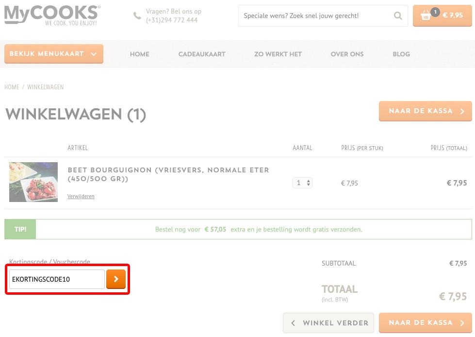 MyCOOKS kortingscode gebruiken