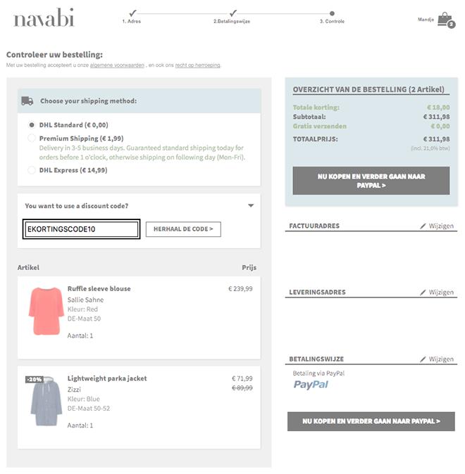 Navabi kortingscode gebruiken
