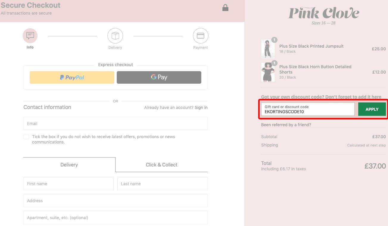Pink Clove kortingscode gebruiken
