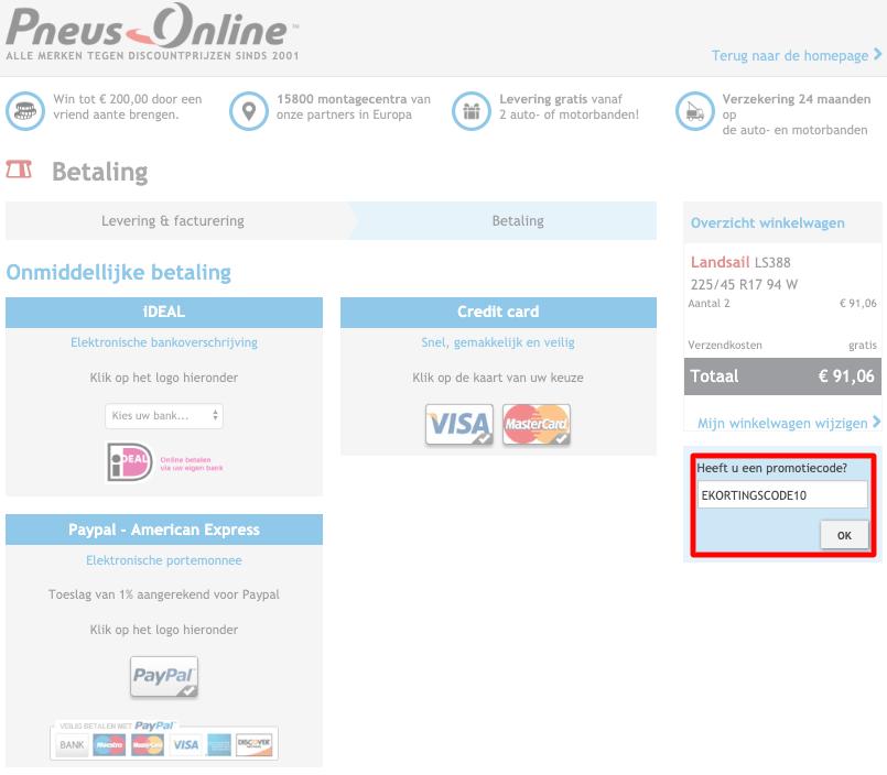 Pneus Online kortingscode gebruiken