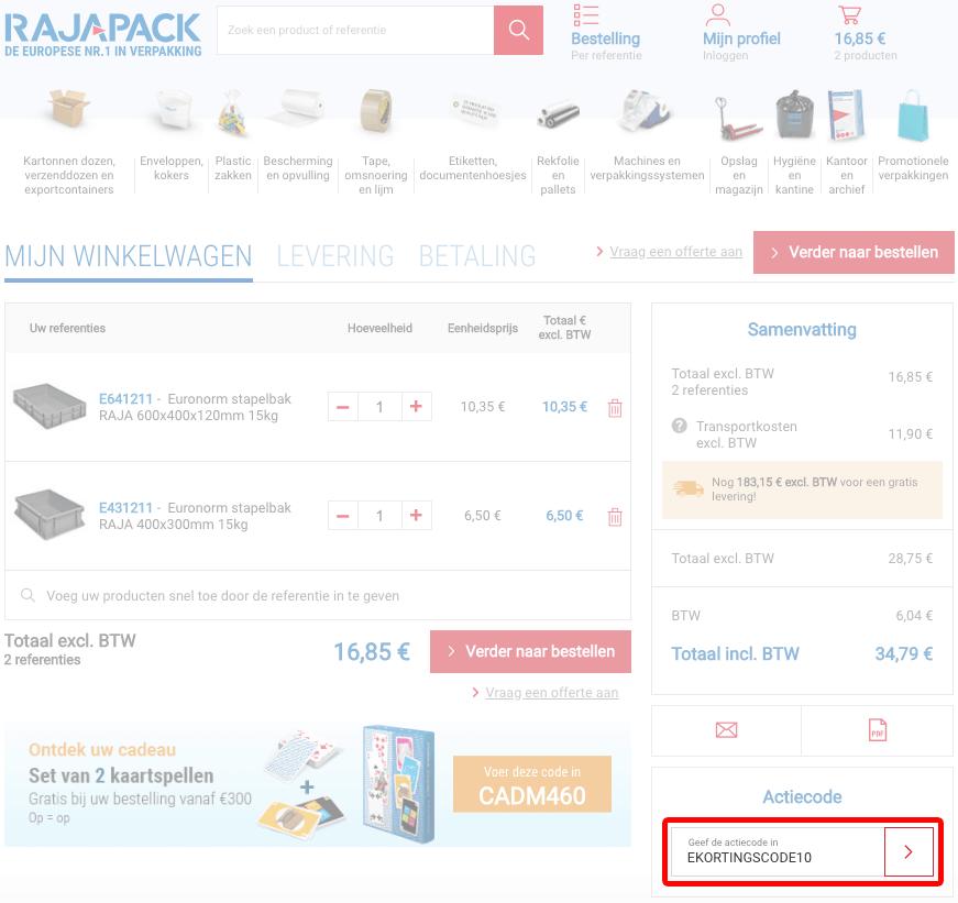 Rajapack kortingscode gebruiken