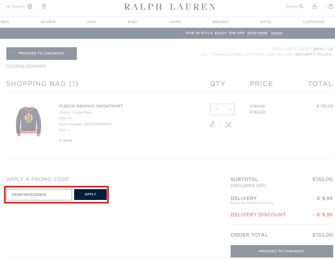 Ralph Lauren kortingscode gebruiken