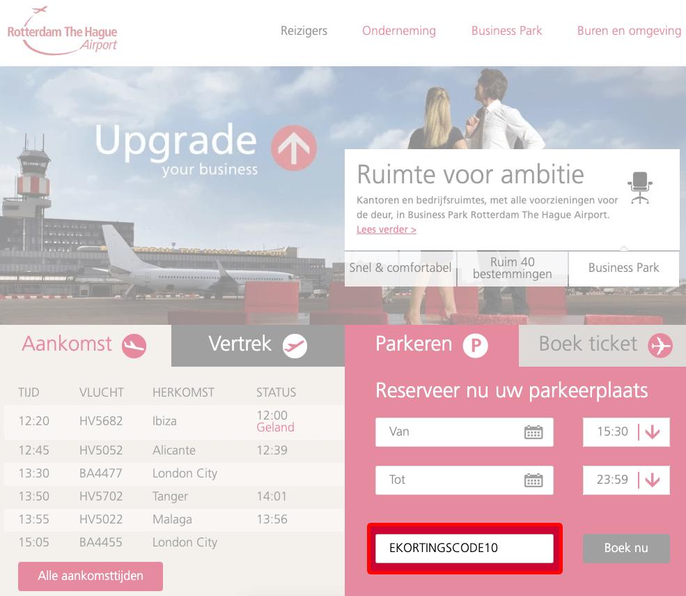 Rotterdam The Hague Airport Parkeren kortingscode gebruiken