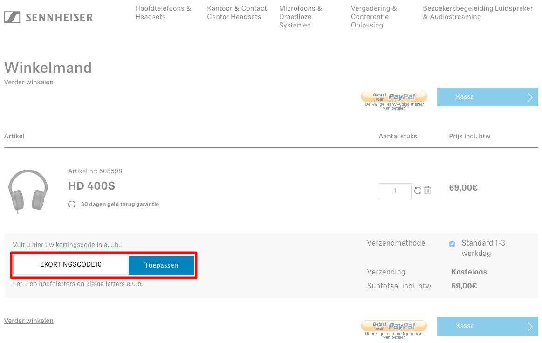 Sennheiser kortingscode gebruiken