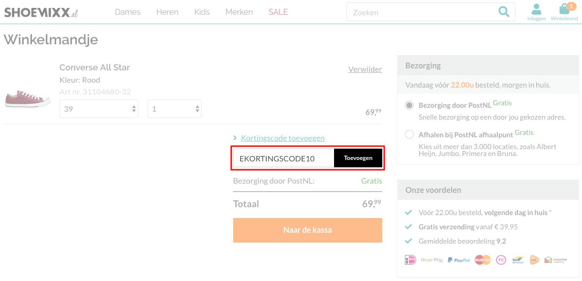 Shoemixx kortingscode gebruiken