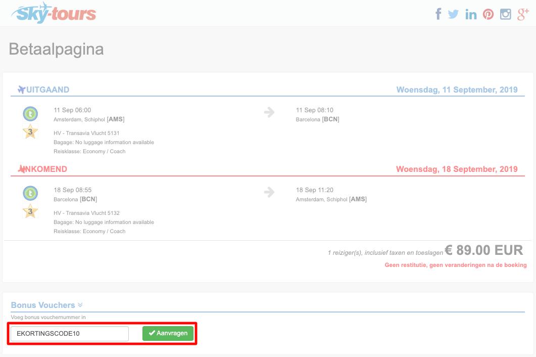 Skytours kortingscode gebruiken
