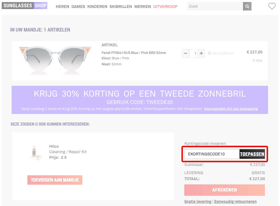 Sunglasses Shop kortingscode gebruiken