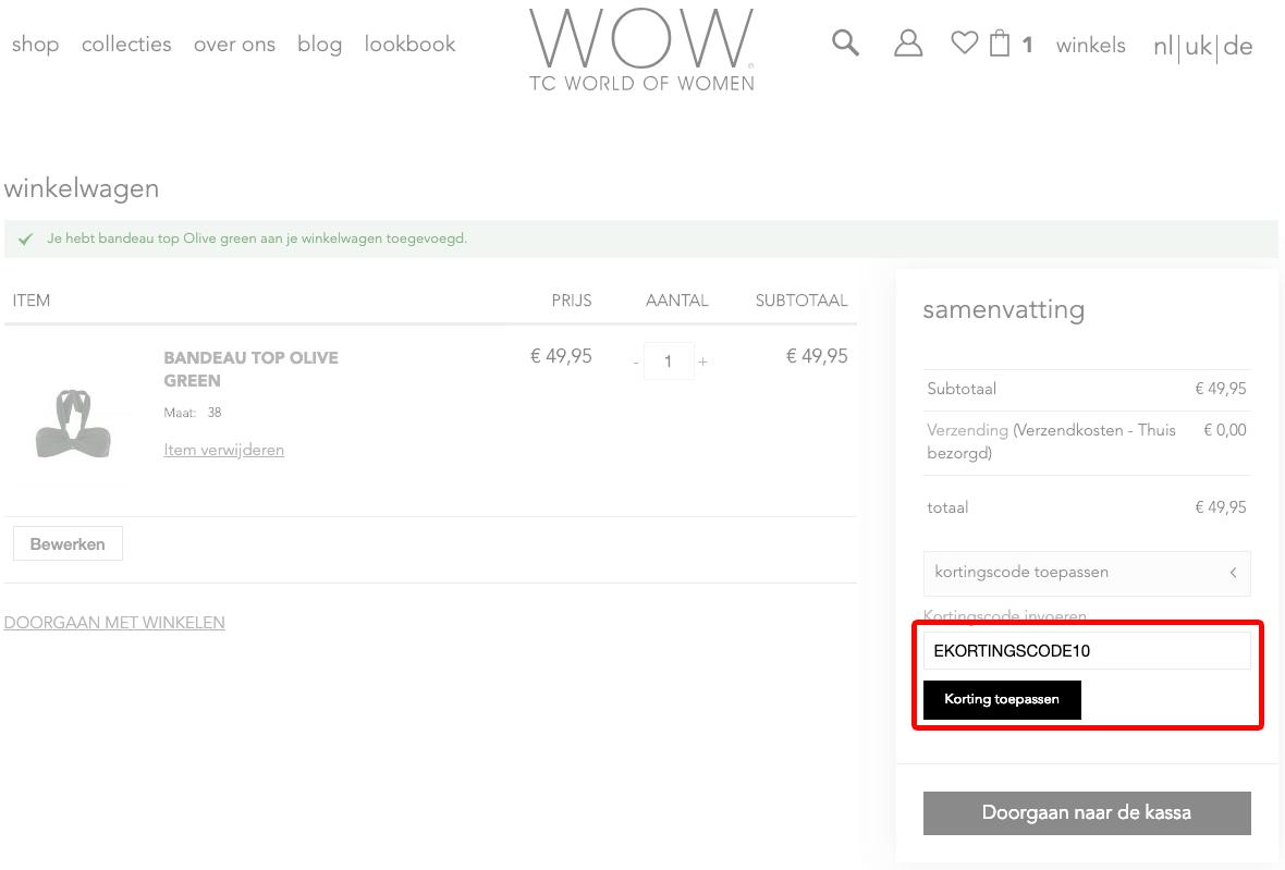 TC WOW kortingscode gebruiken