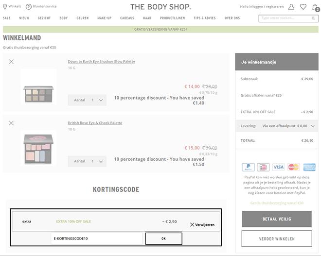 The Body Shop kortingscode gebruiken