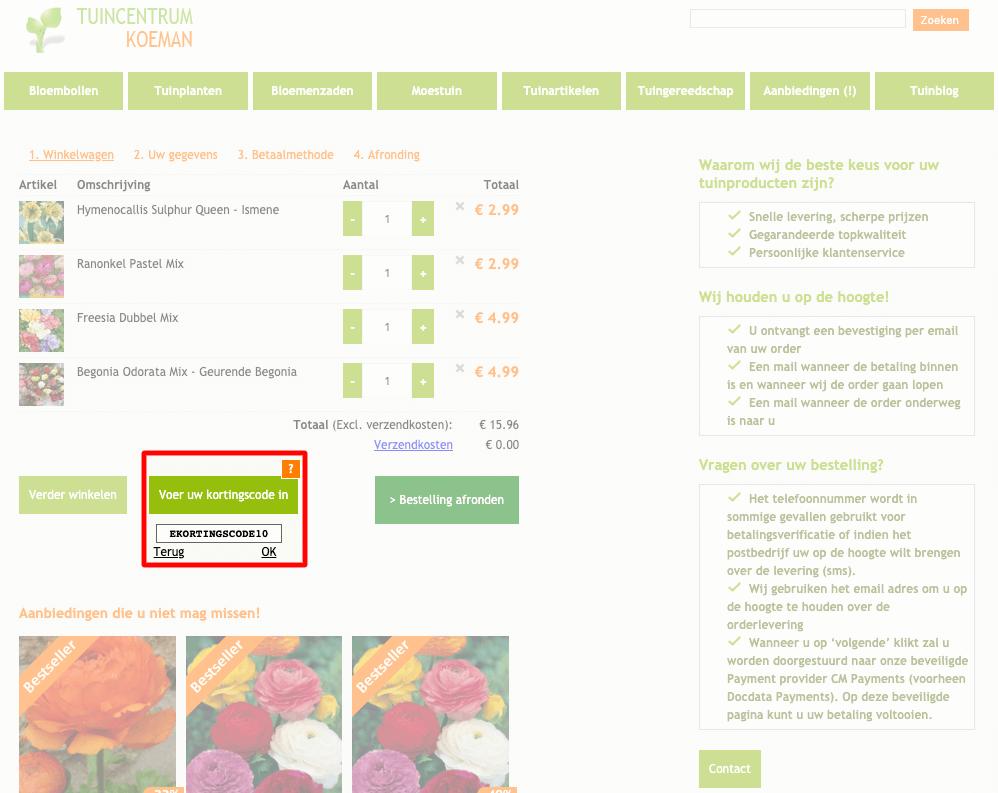 Tuincentrum Koeman kortingscode gebruiken