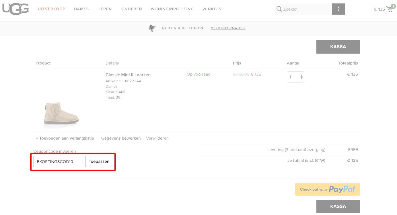 UGG Australia kortingscode gebruiken