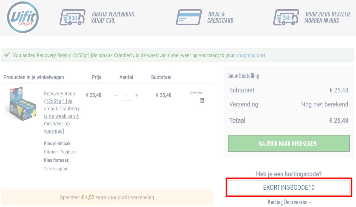 Vifit Sport kortingscode gebruiken
