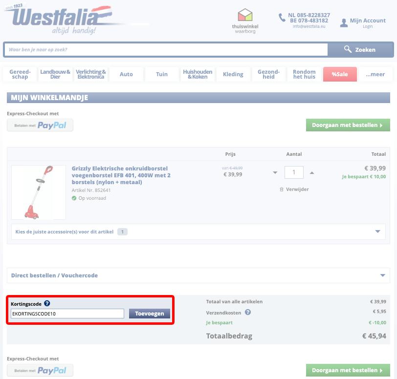 Westfalia kortingscode gebruiken