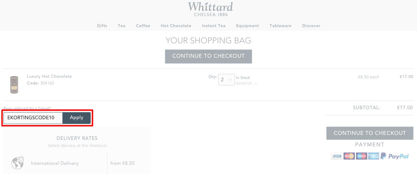 Whittard of Chelsea kortingscode gebruiken