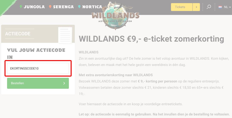 Wildlands Adventure Zoo kortingscode gebruiken