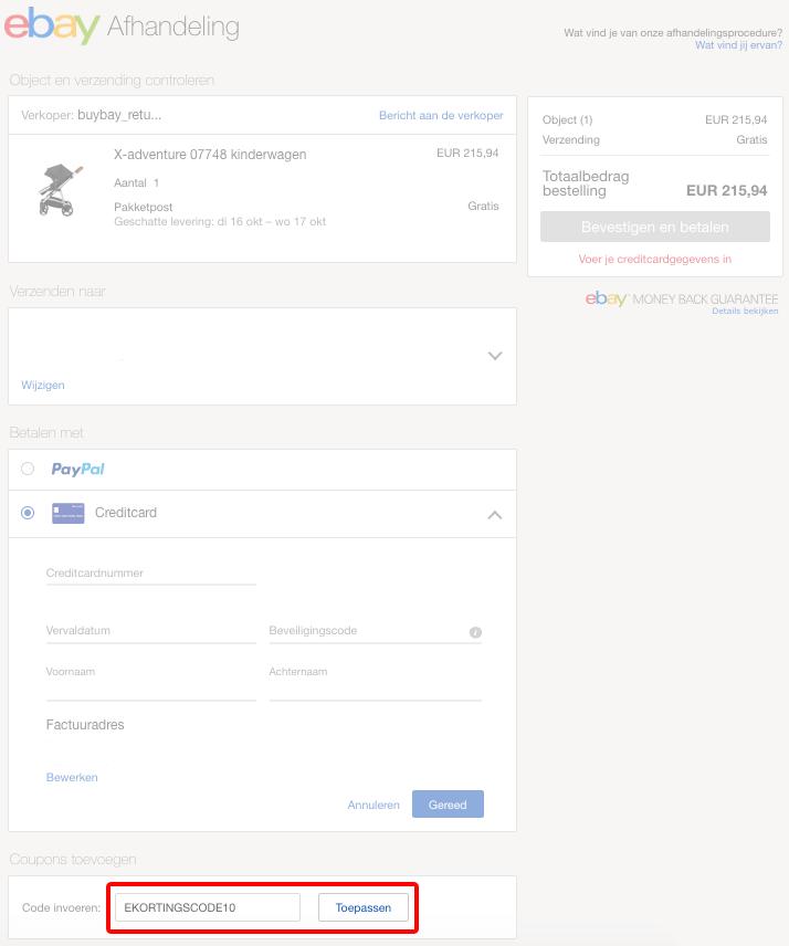 eBay kortingscode gebruiken